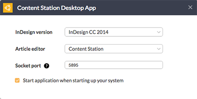 The settings window for the Content Station Desktop App