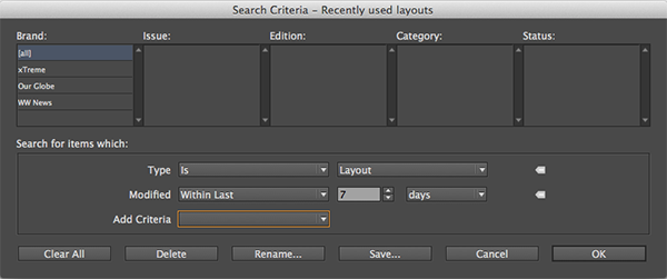 Search criteria for recently used layouts