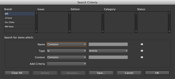 The Search Criteria dialog box