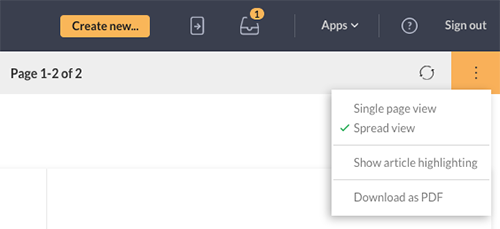 The options for single page and spread view