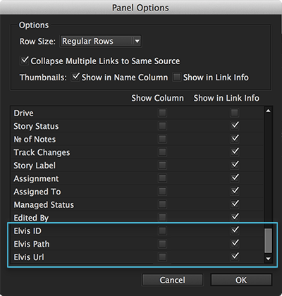 The Elvis options in the Links Panel Options dialog