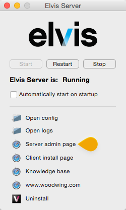 The Server admin pages option