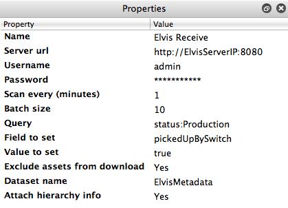 Elvis Receive configurator properties