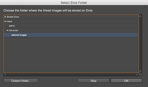 The Select Elvis Folder dialog