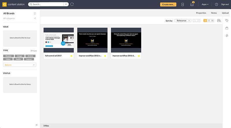 Advert files shown as a thumbnail