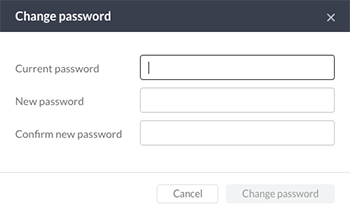 The Change password window
