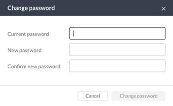 The Change password window