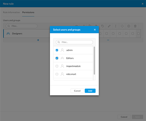 Selecting users and groups