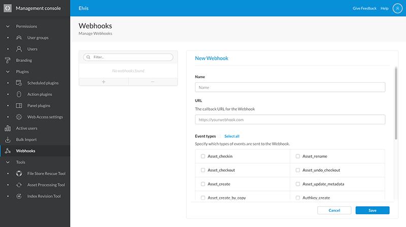 The Manage Webhooks page