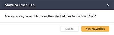 Confirmation message for moving a file to the Trash Can