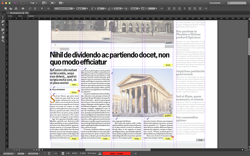 An opened layout in InCopy with a checked-out article