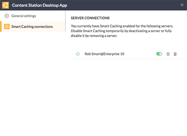 The Smart Caching settings