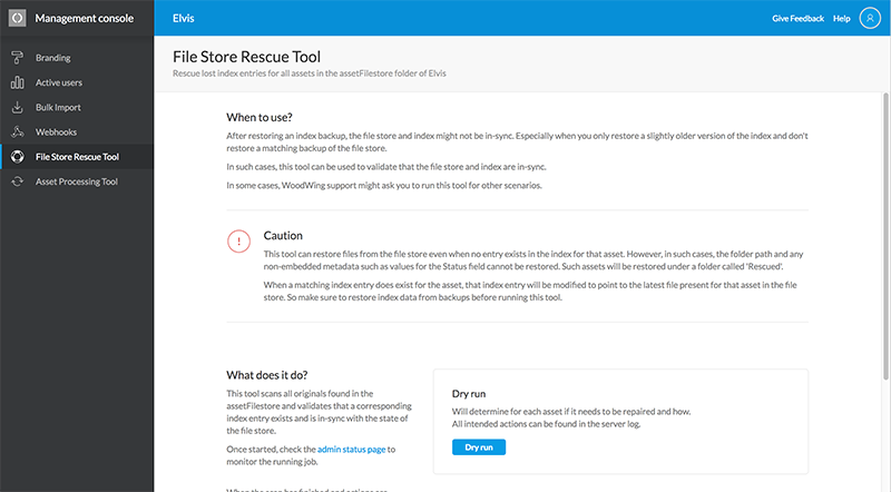 The File Store Rescue Tool page