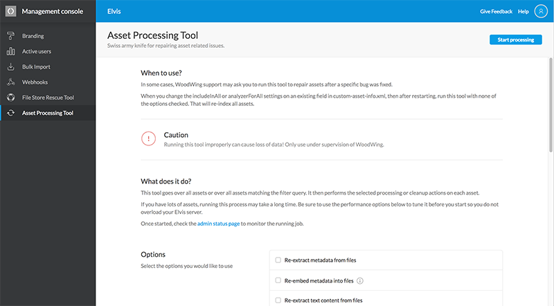 The Asset Processing Tool page
