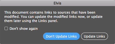 The message showing that updates are available