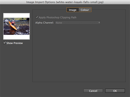 Import options for images
