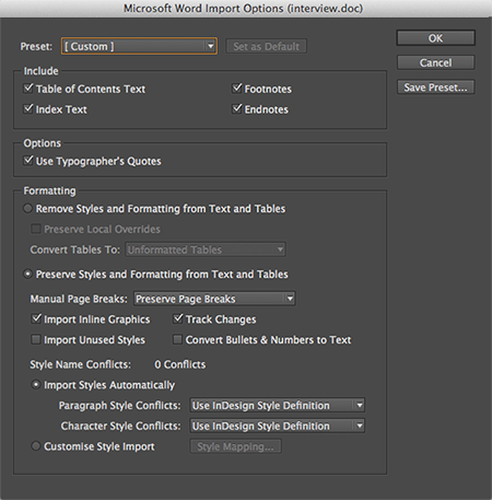 The import options for Word files