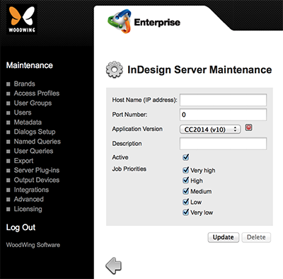 The InDesign Server Maintenance page.