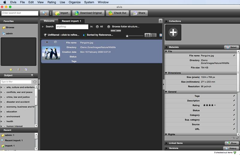 Metadata in the Elvis Desktop client