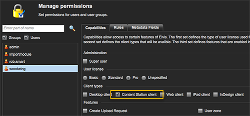 Enabling the Content Station permission