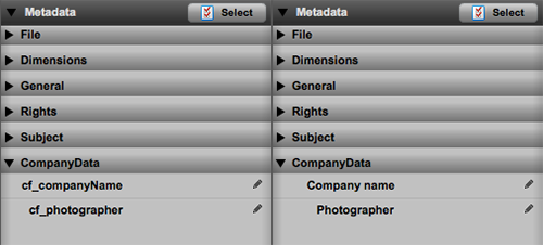 Renamed metadata fields