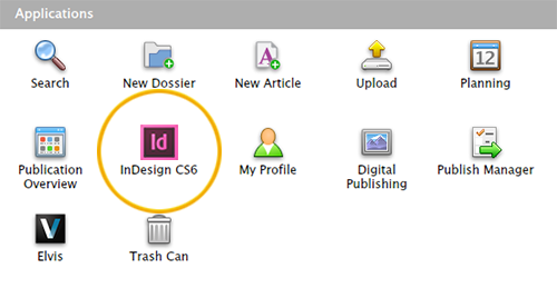 The InDesign icon as an application on the Home page