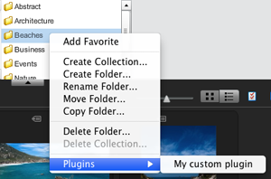 The folder context menu