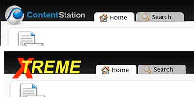 The Content Station logo replaced by a custom logo