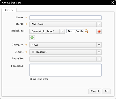 The Create Dossier dialog box showing default properties