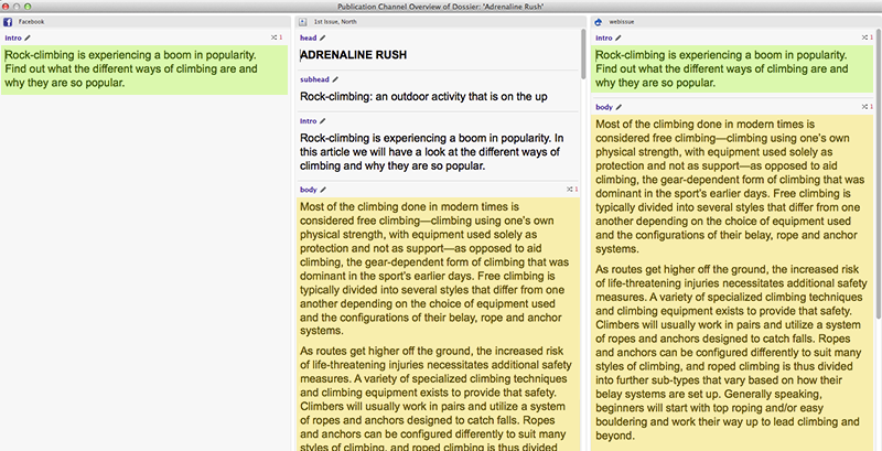Showing re-used article components