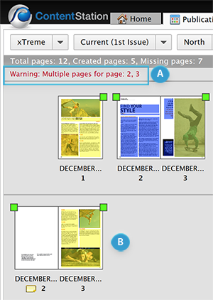 Multiple pages displayed in the Publication Overview