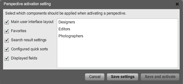 The Perspective Activation Setting window