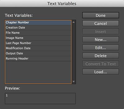 The Text Variables dialog box