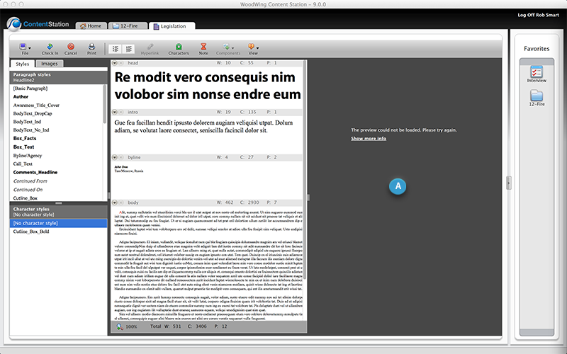The Article Preview pane in the Multi-Channel Text Editor