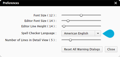 The Spell Checker Language list in the Content Station preferences