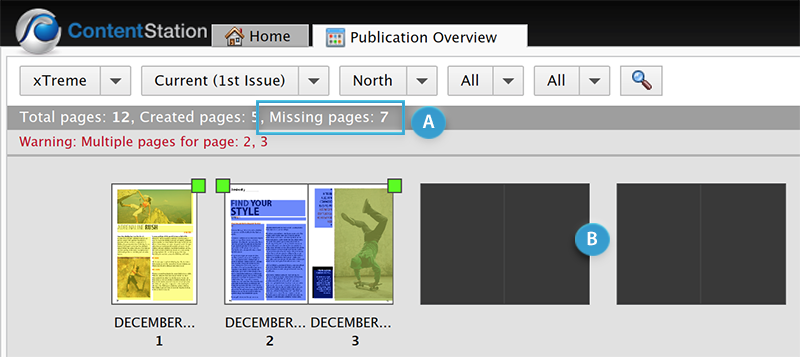 Missing pages in the Publication Overview