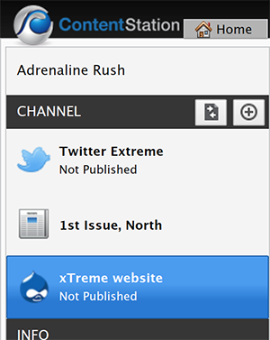 The Drupal Publication Channel selected in the Channel pane