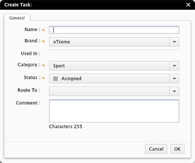 The Create Task dialog box