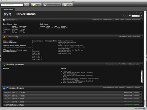 The Server Status page in Elvis DAM 4