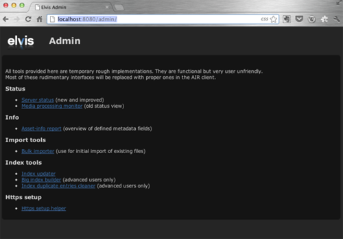The Server Admin pages for Elvis DAM 4