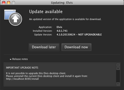 The Update Available window