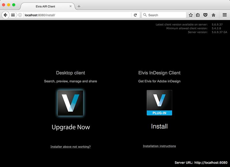 Desktop client upgrade message on the Server