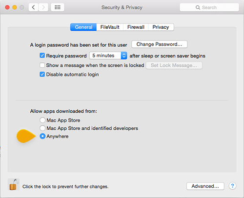 Security settings on Mac OS