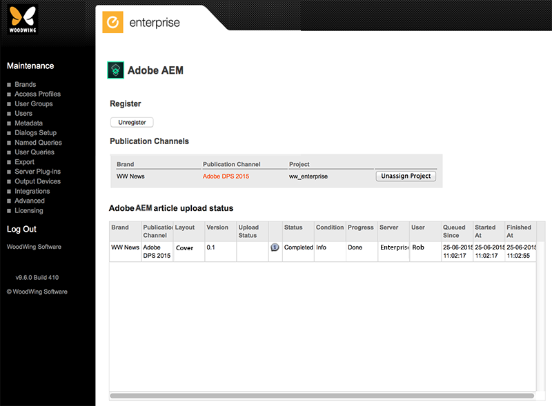 The Adobe DPS (2015) Maintenance page in Enterprise Server 9 – Home