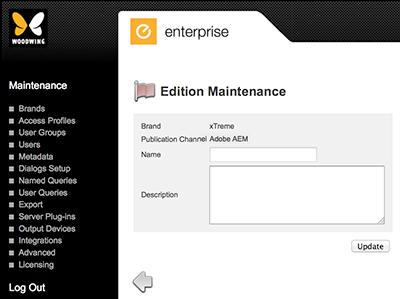 Edition Maintenance page
