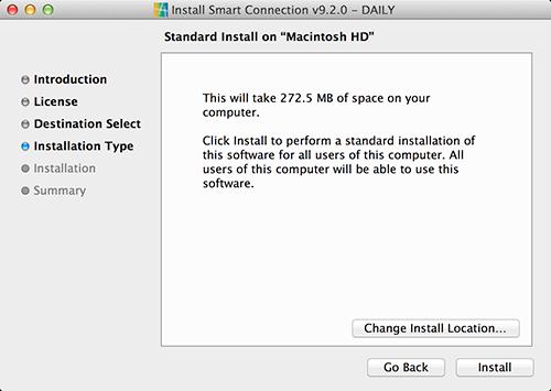 The Standard Install screen