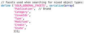 The General Facets option in the config_solr.php file