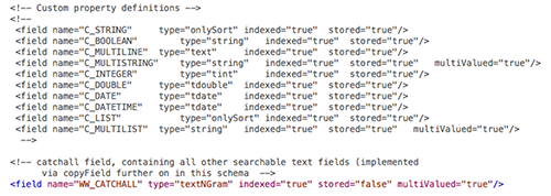 The Custom Property Definition section of the schema.xml file