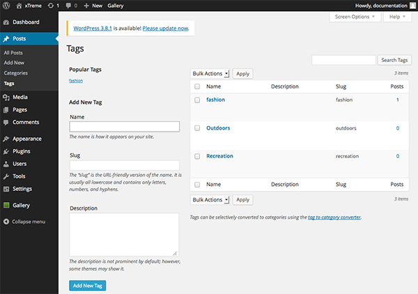 The Tags page in WordPress