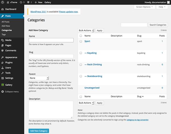 The WordPress Categories screen